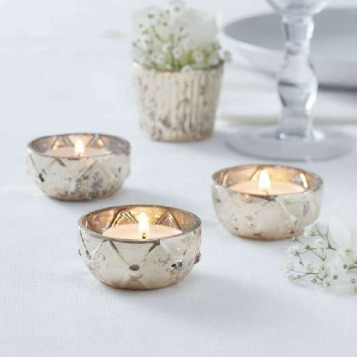 12 Gold Glass Tealight Holders